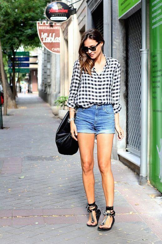 Shirt Tartan e Denim Shorts via