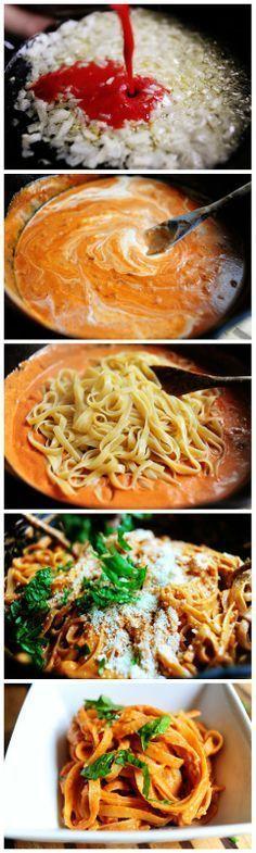 Macarrão com molho de creme de tomate