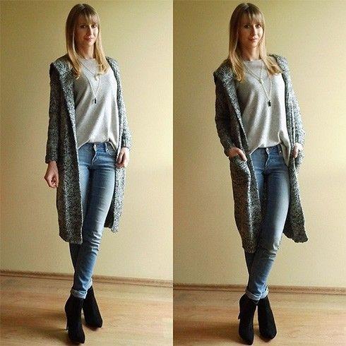 Usar um casaco de lã longo Com Jeans