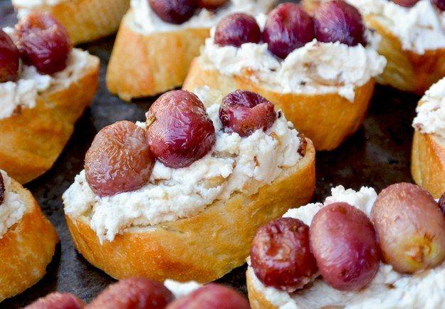 Roasted Grape and cabra Crostini Cheese