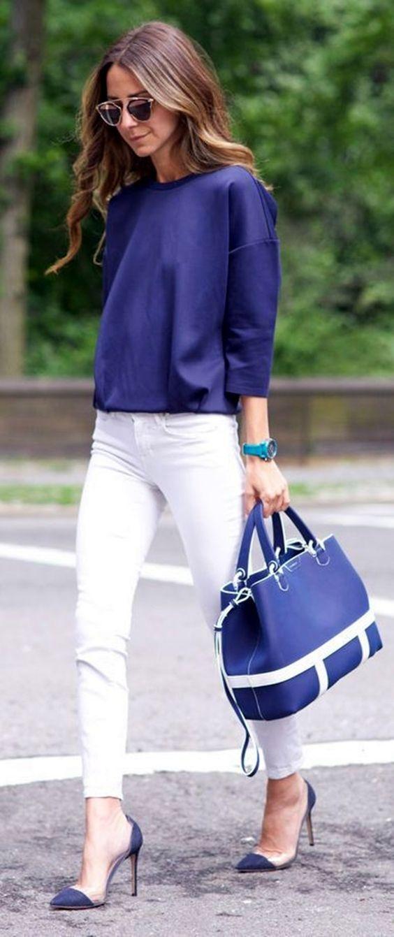 Azul para cima e branco Calças via