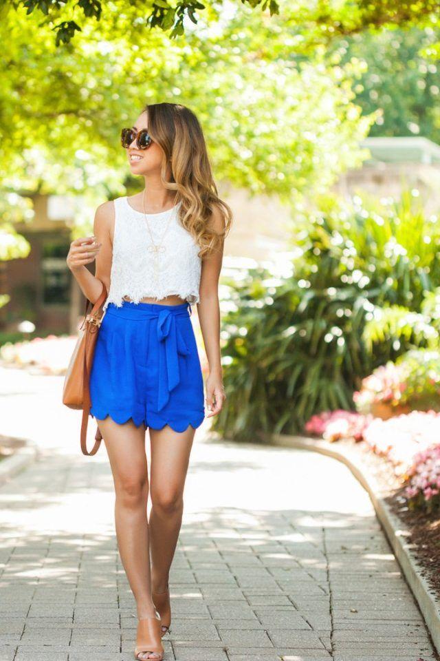 Branca Top e azul Shorts via