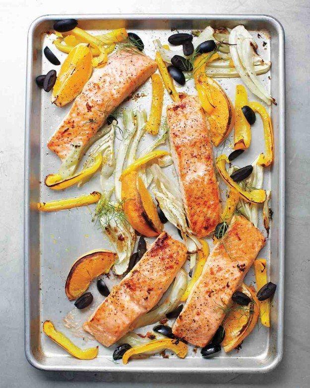 Salmon Funcho Pimenta de Bell e as azeitonas