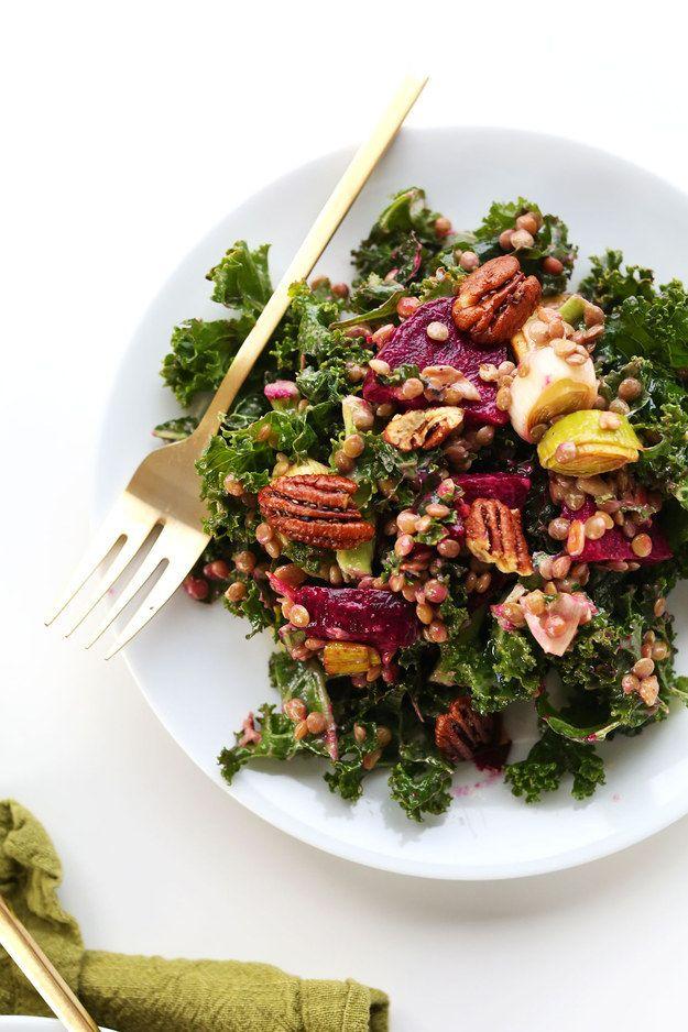 Salada de couve, Lentilha, e Assado Beterraba