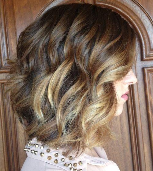 ondulado penteado bob encaracolados para cabelos grossos