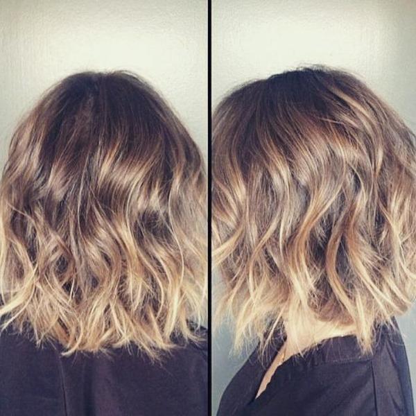 corte de cabelo bob curto ombre ondulado para as mulheres