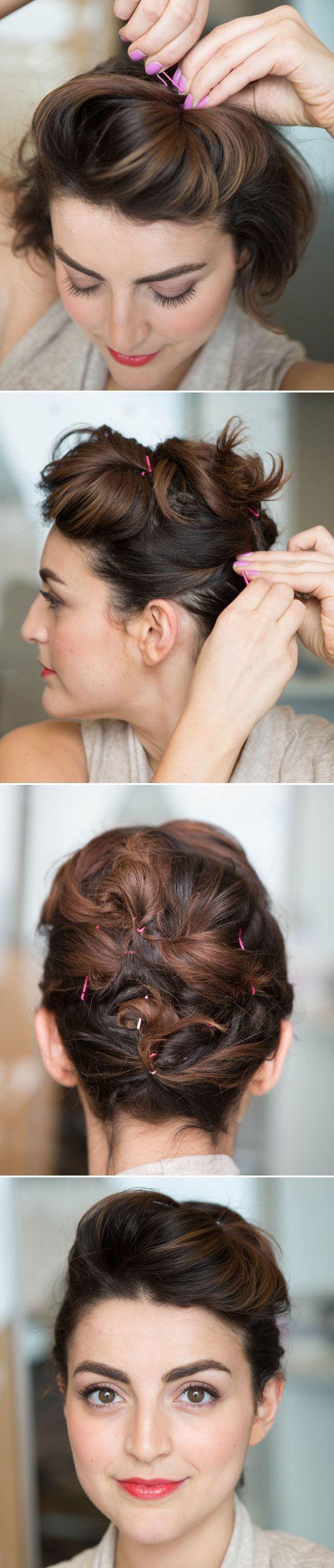 Fixado Updo Penteado Tutorial para o cabelo curto