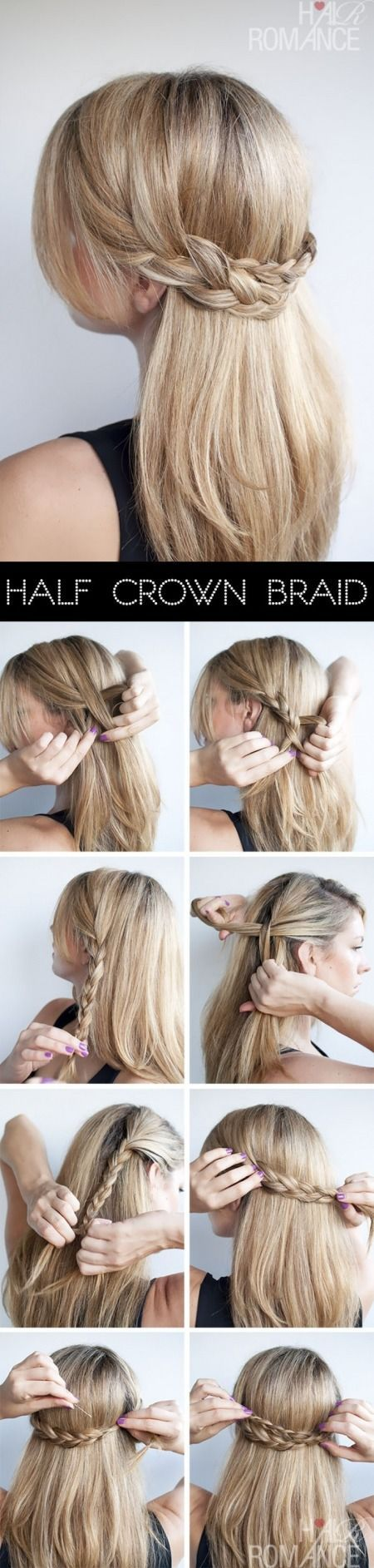 Metade Crown Braid penteado Tutorial
