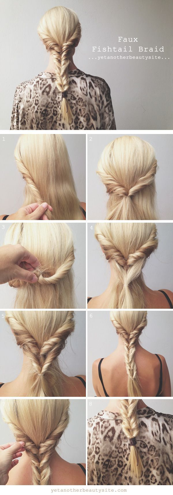 Faux Fishtail Braid penteado Tutorial