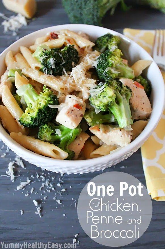 One-Pot Frango, Penne, e bróculos