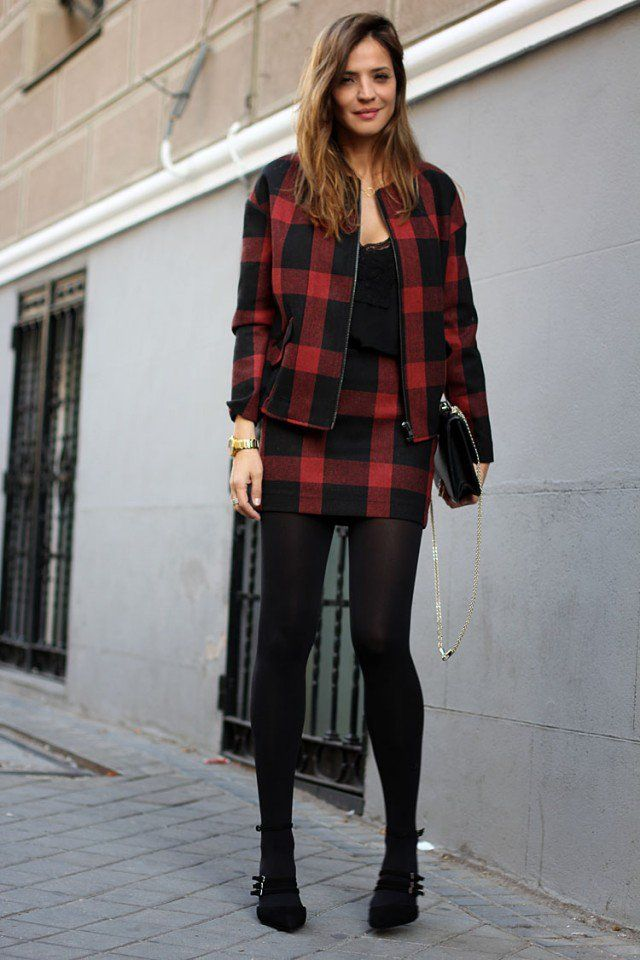 Black and Jacket Tartan vermelho e saia