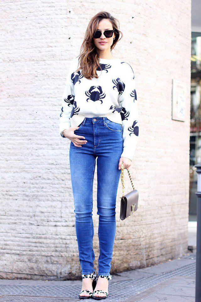 Jumper impresso com Jeans