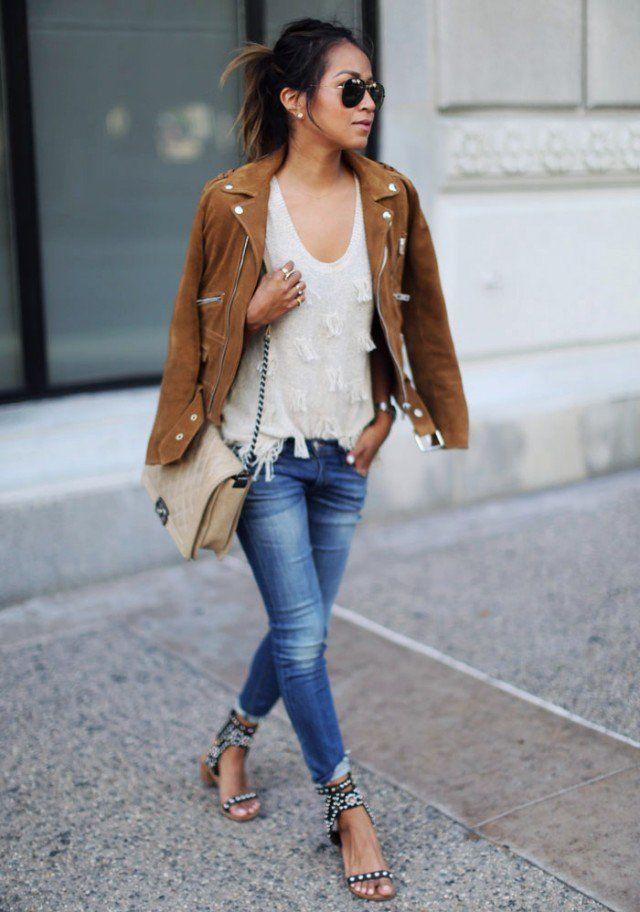 Jaqueta de camurça com Skinny Jeans