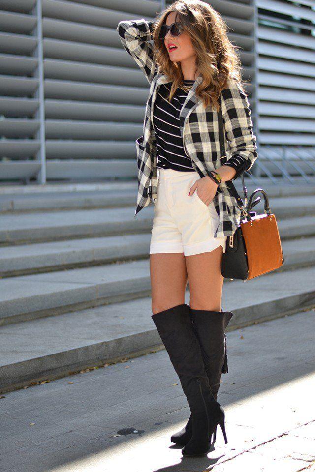 Quadriculada camisa com botas de comprimento do joelho