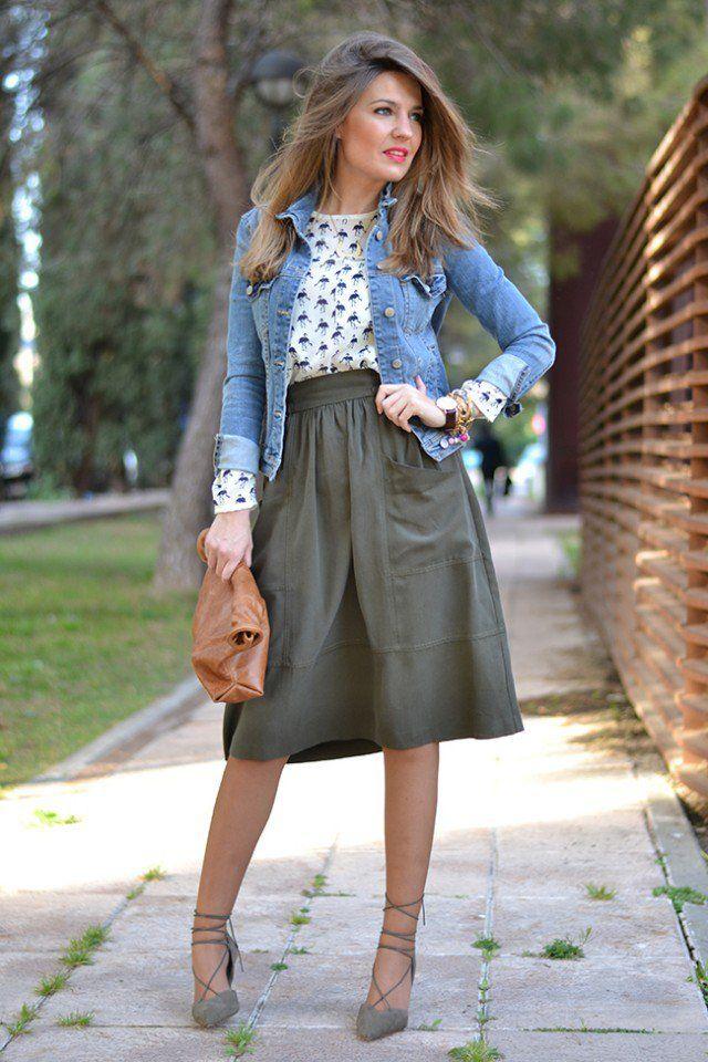 Jaqueta jeans com saia de Midi