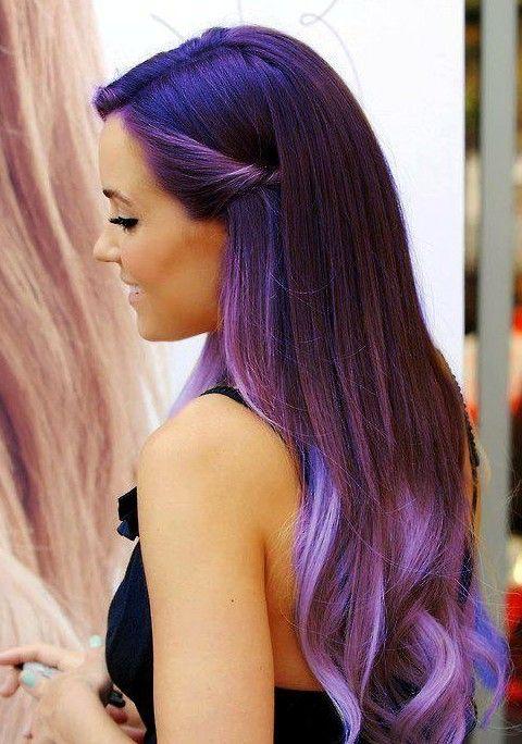 Roxo Ombre Cor de cabelo para cabelo reto longo