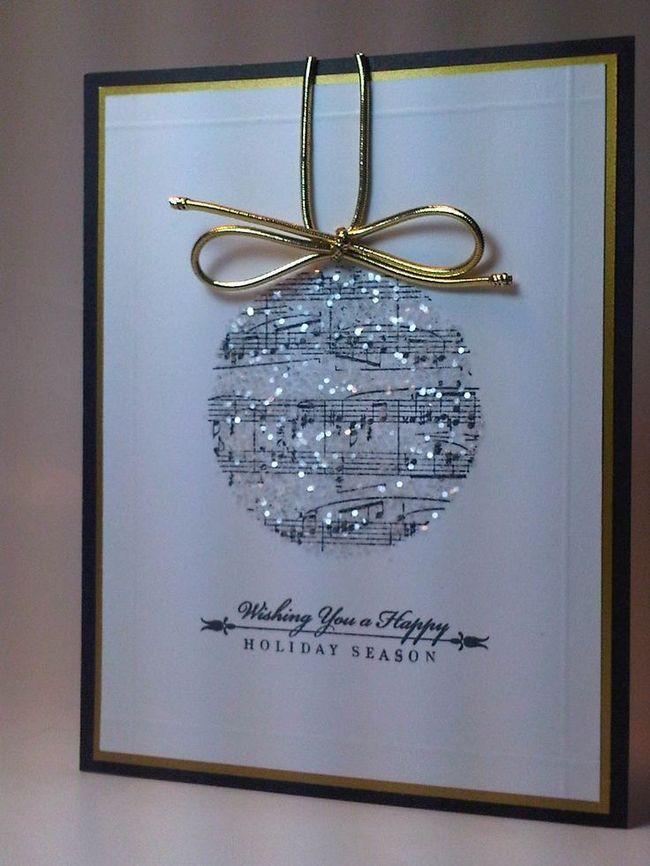 Cartão de Natal com ornamentos musicais