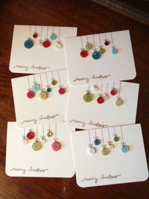 Cartões de Natal Botão caseiro
