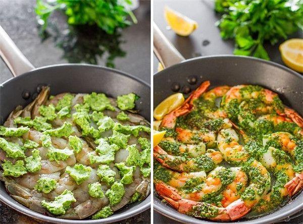 One-Pan camarão com alho e salsa manteiga