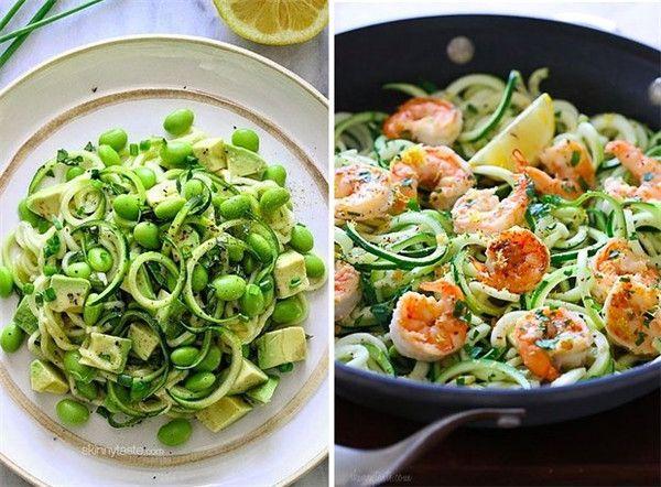 Receita de camarão Isqueiro Shrimp Scampi sobre Zucchini Noodles