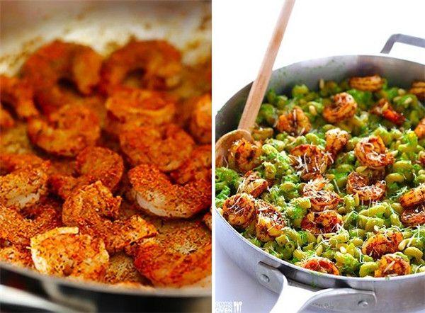 Receita Camarão Espargos e espinafre Pesto Macarrão com camarão grelhado