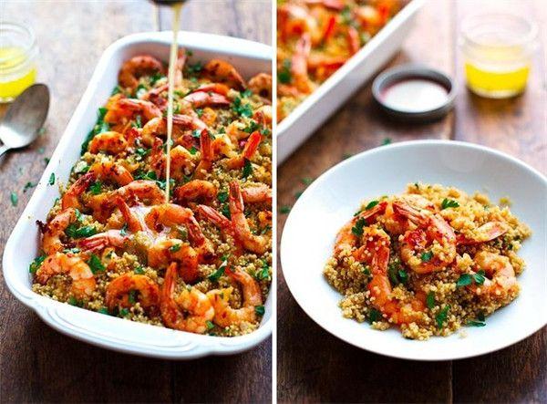 Receita de camarão manteiga de alho camarão e Quinoa