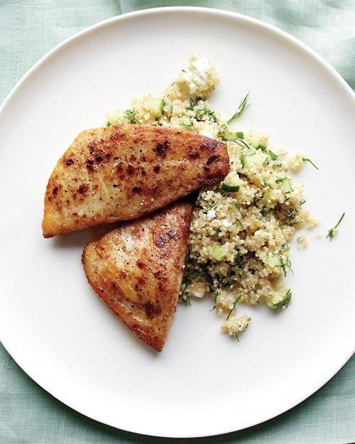 Tilápia e Quinoa com Feta e do pepino
