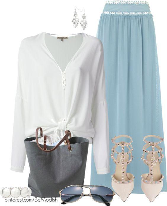 Azul pálido saia Outfit