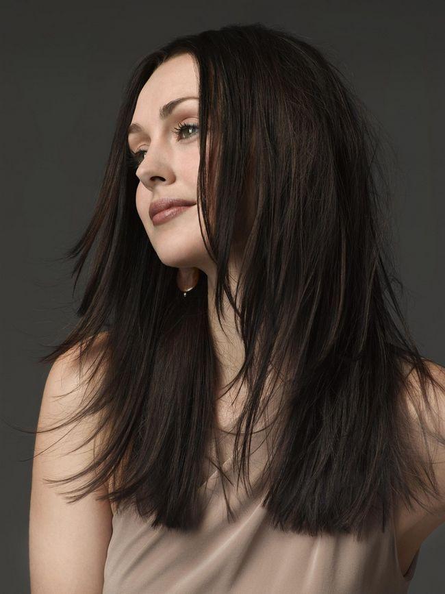 Elegante longo penteado Brunette Hetero