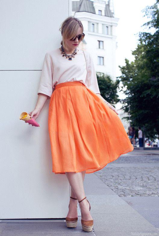 Laranja saia de Midi Outfit