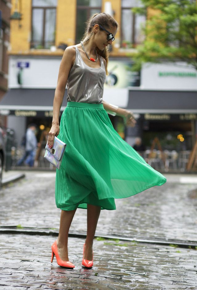 Verde saia de Midi Outfit