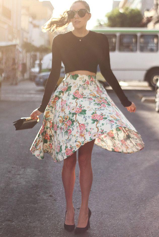 Floral saia de Midi Outfit