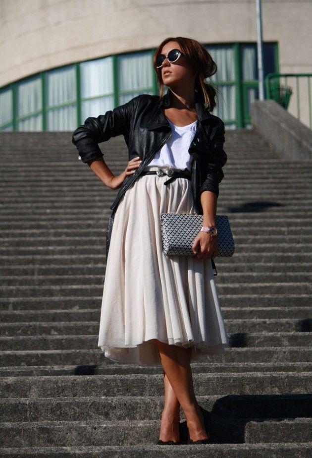 Bege saia de Midi Outfit