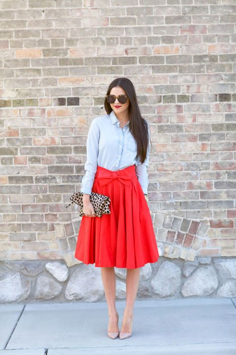 Hot Red saia de Midi Outfit