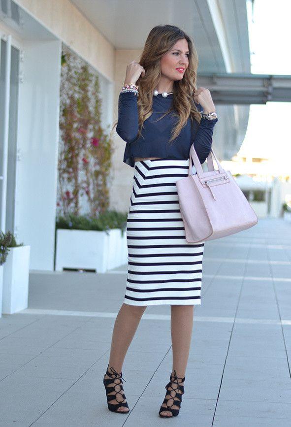 Stripe saia de Midi Outfit