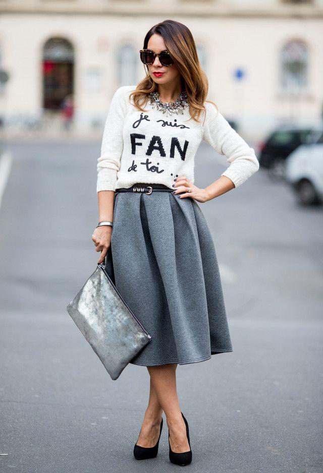 Cinzenta saia de Midi Outfit