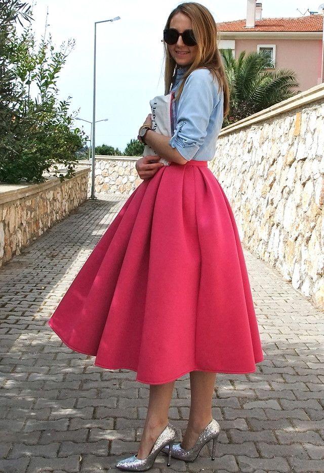 Fuchsia Midi vestido Outfit