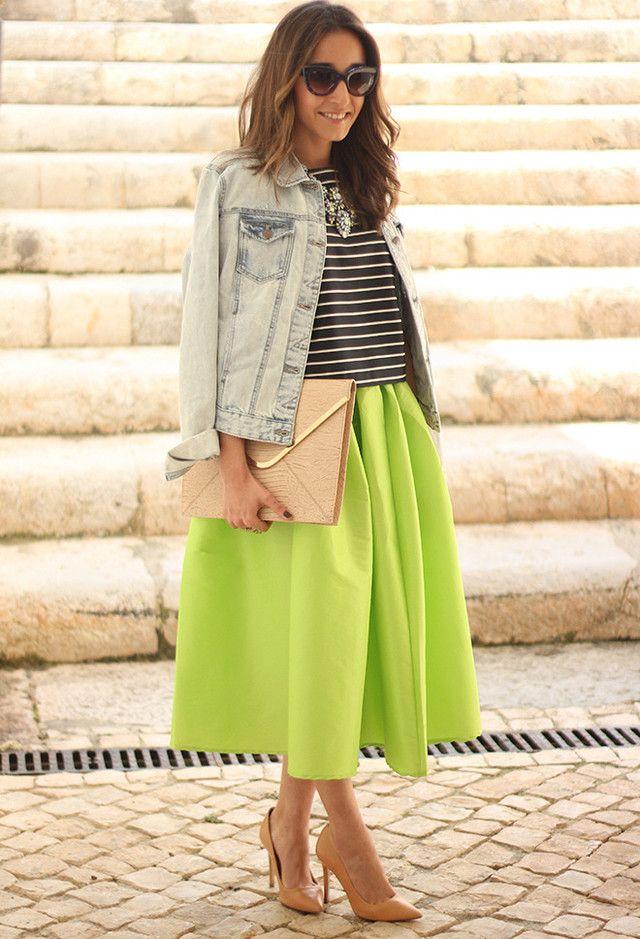 Grama verde saia de Midi Outfit