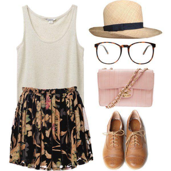 Idea roupa casual com saia e chapéu