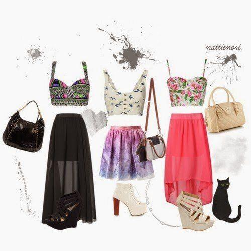Elegantes ideias saia longa roupa para verão