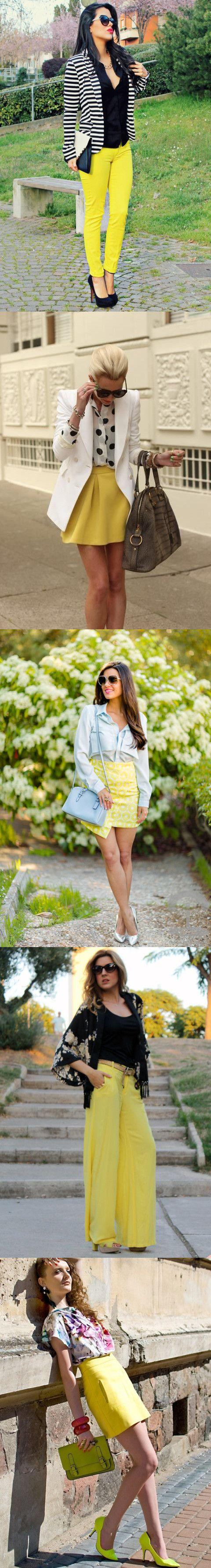Saias e calças amarelas