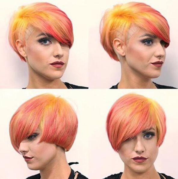 Curto em camadas penteado para o cabelo do arco-íris