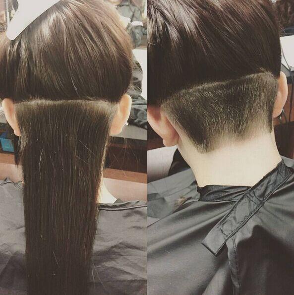Penteado rebaixada para cabelo reto longo