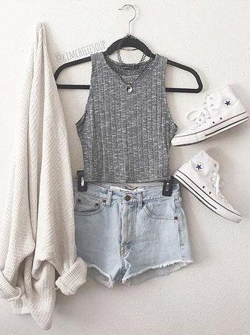 Cinza Vest e Shorts via