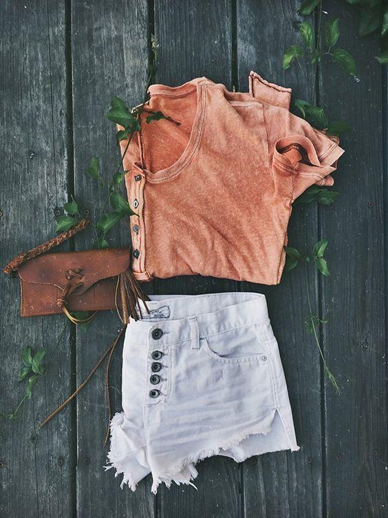 Melhores Orange e pálido Shorts via