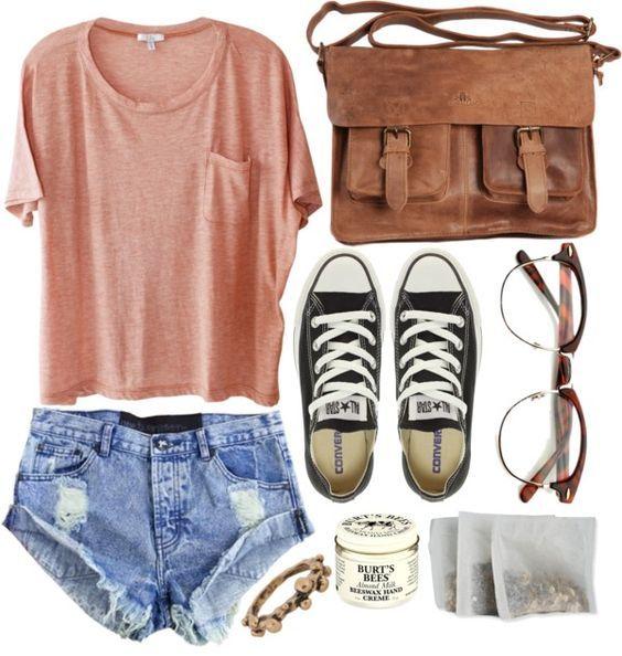Rosa superior e Jeans via rasgado