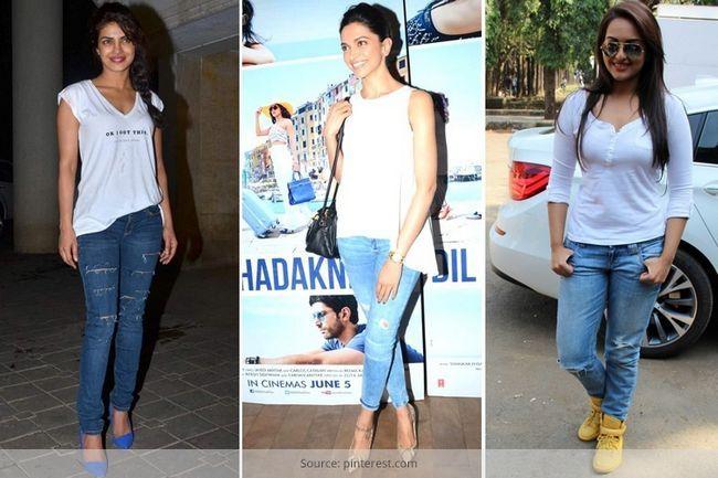 5 Vezes celebridades abalou o crisp white t-shirt e olhar denim azul