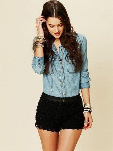 Shorts laço preto bonito