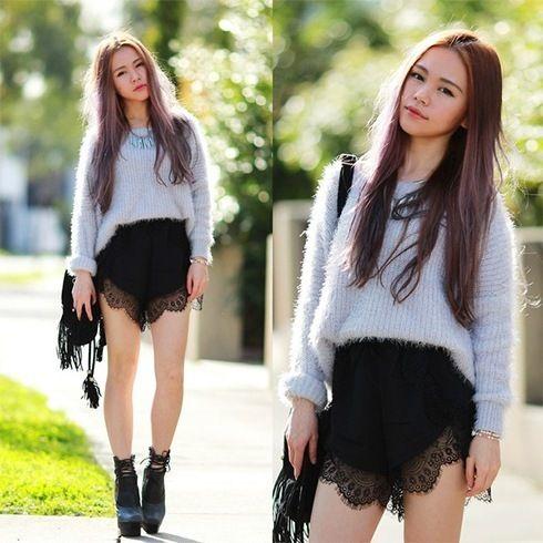 Shorts Laço preto por Womens