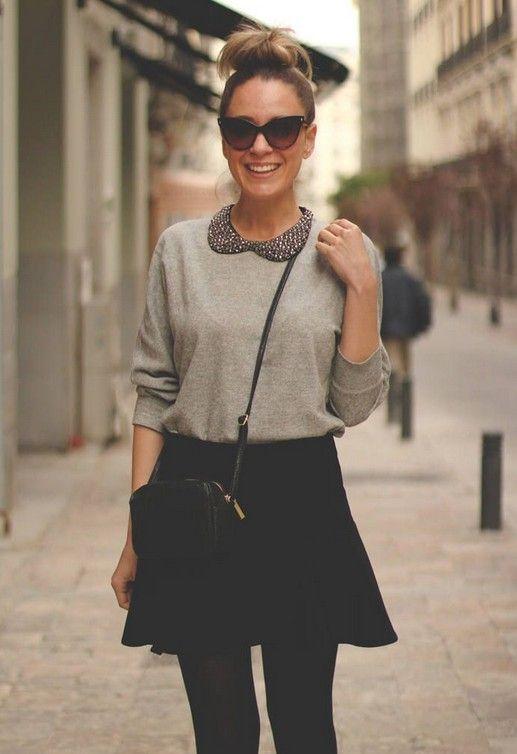 ideia saia roupa preta clássica para a Primavera de 2014, camisa suéter cinza e uma saia